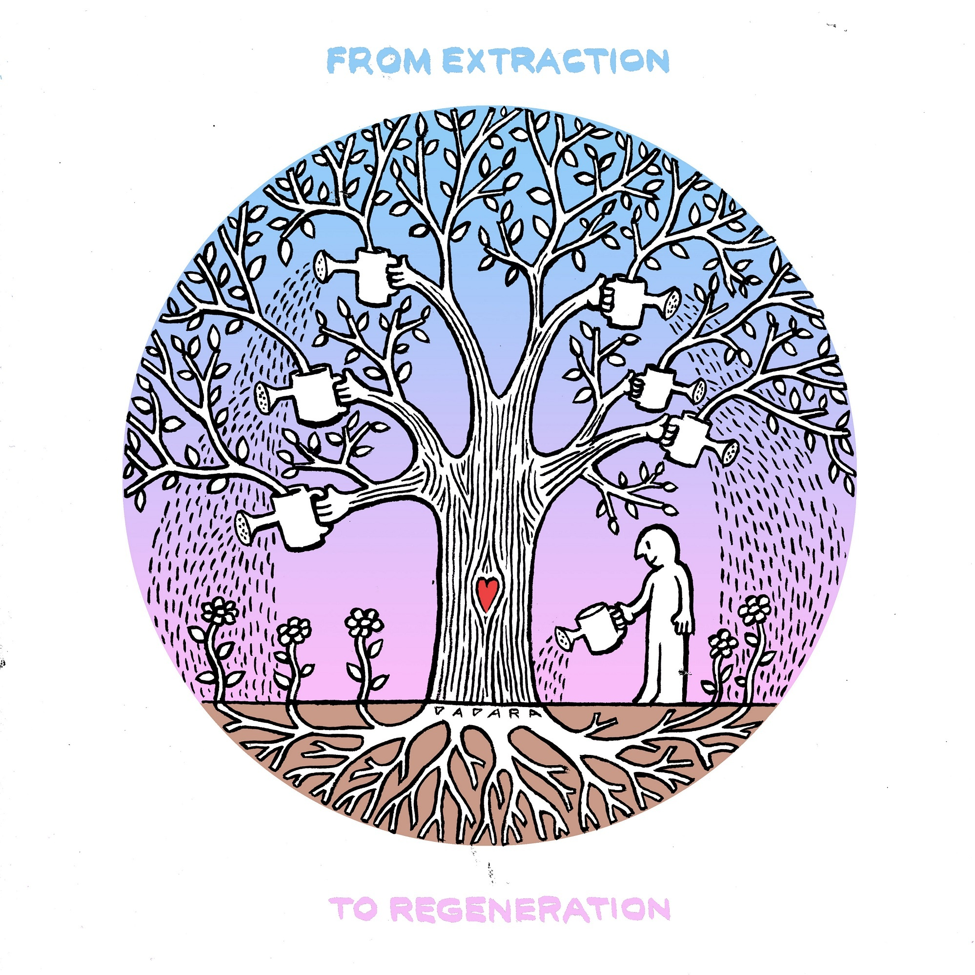 An illustration of a tree with hands instead of branches. Each hand holds watering can. The tree waters the flowers around. A man stands by and waters the tree. Text: Extraction to regeneration.