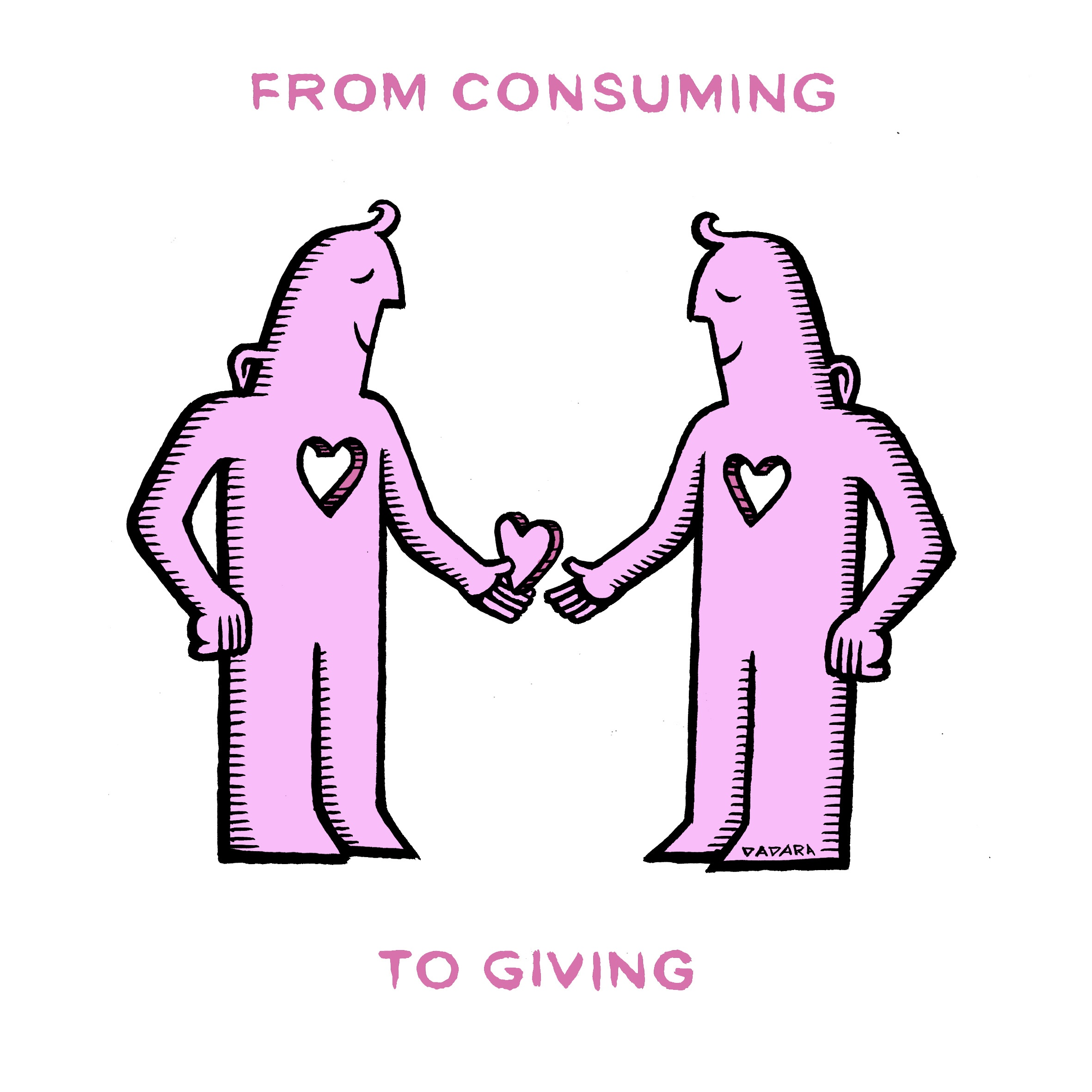 An ilustration of two people sharing one heart. Text: From consuming to giving.