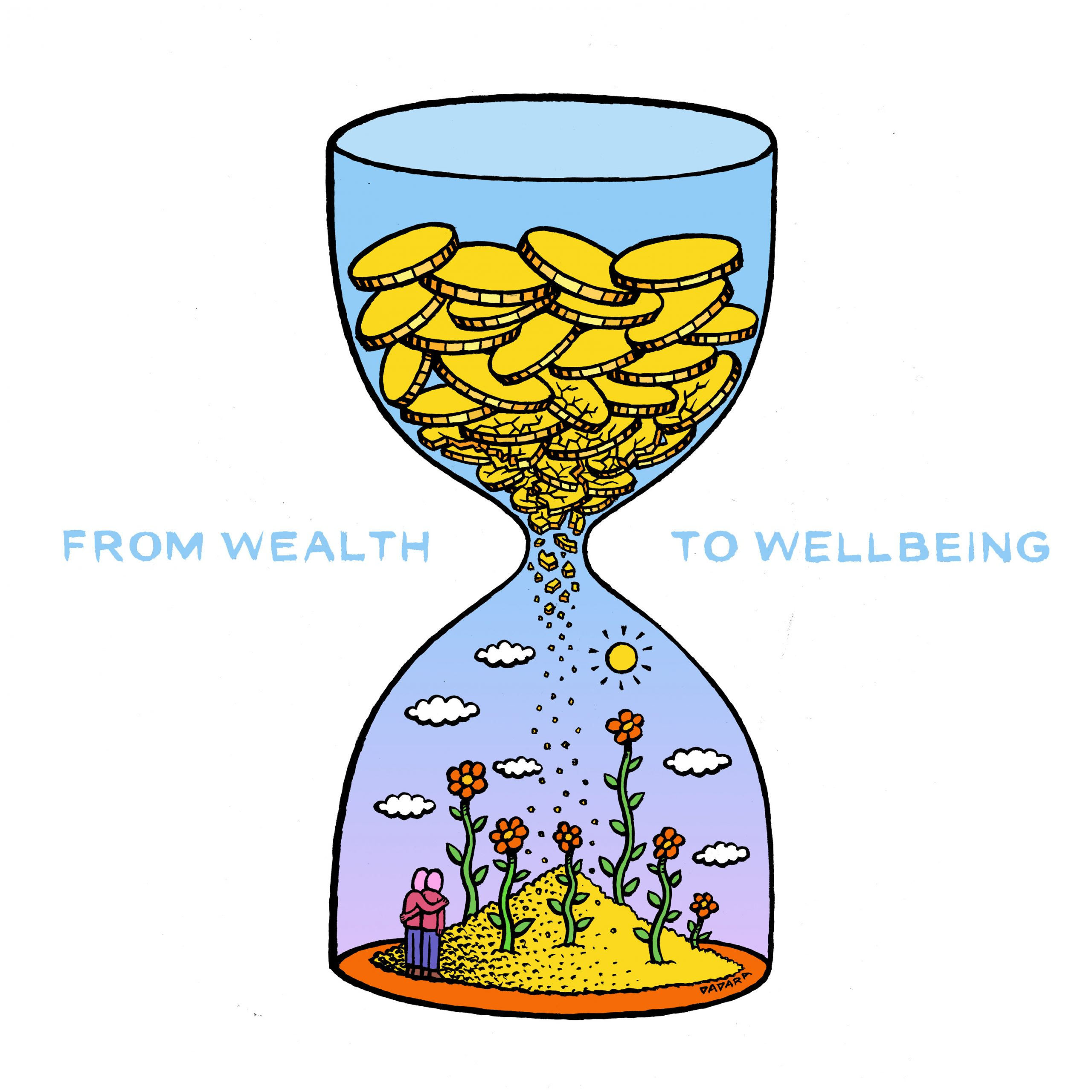 An illustration of an hourglass with money in the top part and image of happy society in the bottom part. Text: From wealth to well-being.