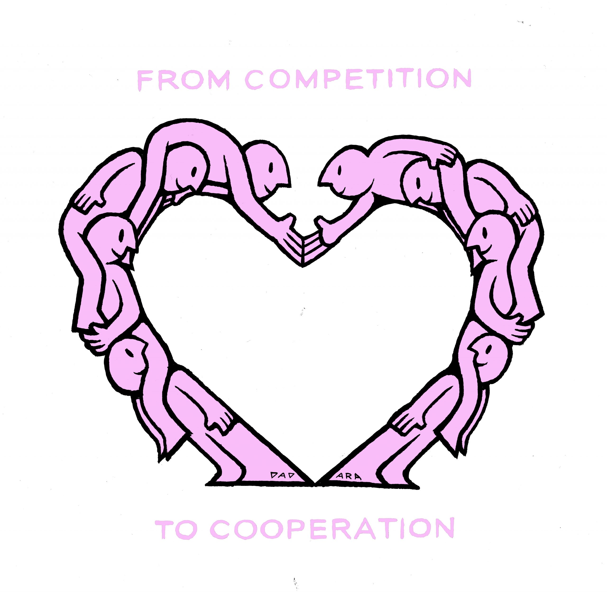 An illustration of group of people forming a heart. Text: From competition to cooperation.
